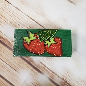 Vintage Wood Trinket Box Strawberries Green Kitsch